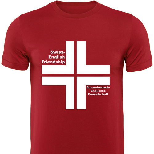 Männershirt-ENGLAND, Swiss-Britsh Friendship, rot