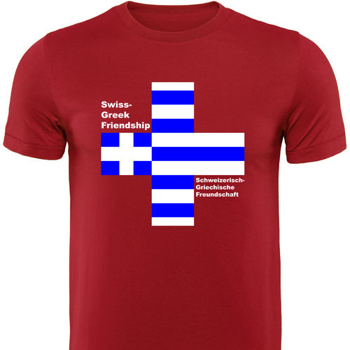 Männershirt-GRIECHENLAND, Swiss-Greek Friendship, rot